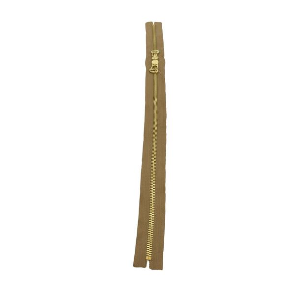 "Ideal Zipper M8 Two Way Double Pull - Brass Teeth 22"", 32"" or 33"" Closed Ends Various Colors, 1 Single / 22 / Khaki/Brass"