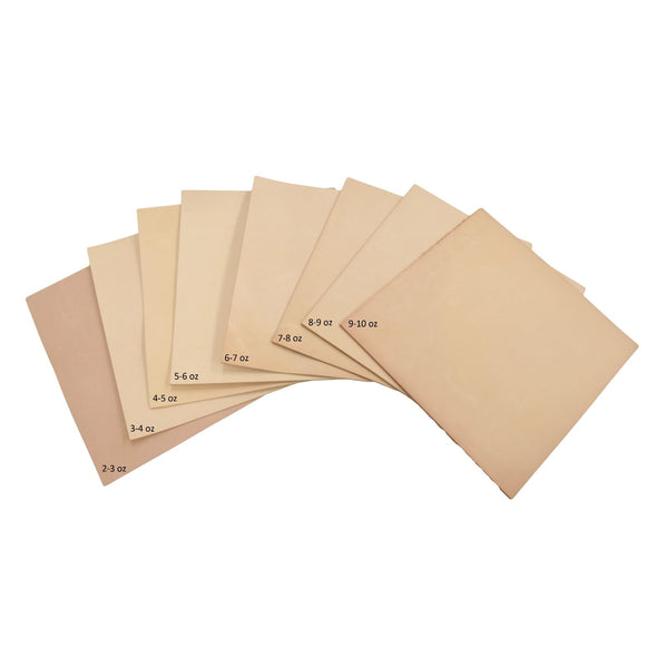 Artisan's Choice Various Pre-cut Sizes Leather Packs Veg Tan Cow 3-10 oz, Full / 12x12