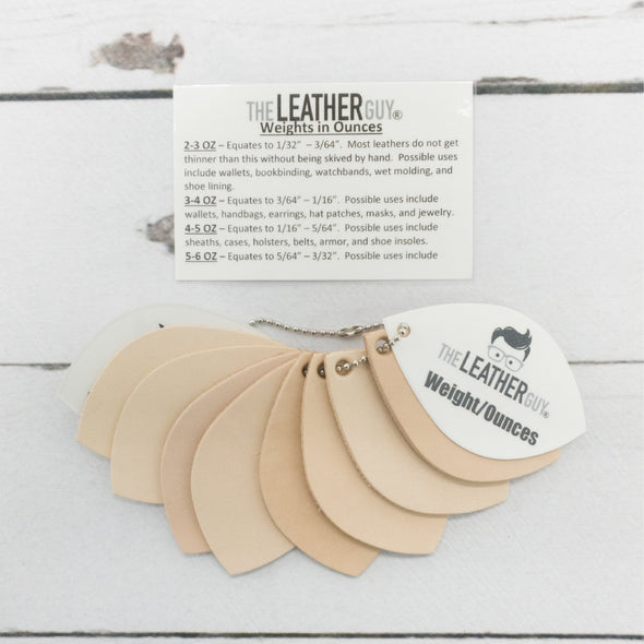 Leather Reference Sample Ring Beginner Information, Weights in Ounces