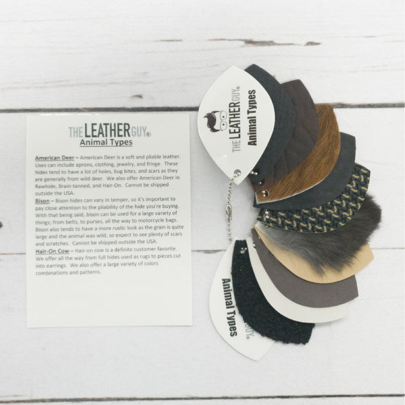 Leather Reference Sample Ring Beginner Information, Animal Types