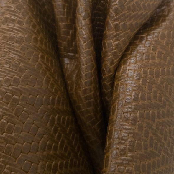 Hill Brown Zig Zag Basket Weave Cowhide Pre-cuts 2 1/2 oz,