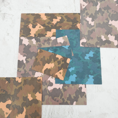 Camo Snakeskin Green Cowhide Genuine Leather Sheets 4x6  8x10  12x12 Leather for Jewelry The Leather Guy