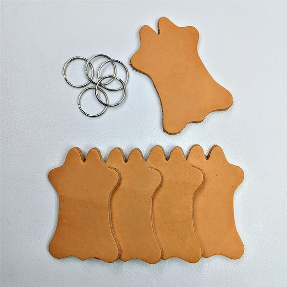 Cowhide Shaped Patch or Keychain, Vegetable Tanned