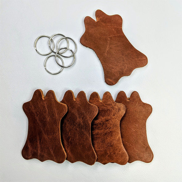 Cowhide Shaped Patch or Keychain, Oil Tanned