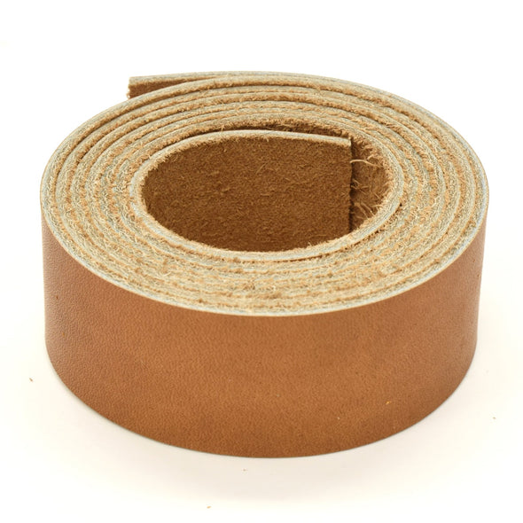 "Oil Tanned Leather 54"" Strap Various Colors and Widths 4-6 oz, El Capitan Light Brown / 1 1/4"