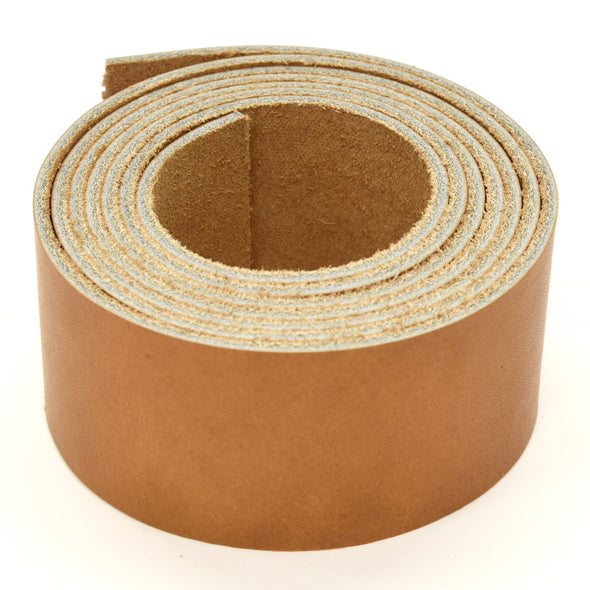 "Oil Tanned Leather 54"" Strap Various Colors and Widths 4-6 oz, El Capitan Light Brown / 1 1/2"
