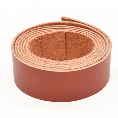 "Oil Tanned Leather 54"" Strap Various Colors and Widths 4-6 oz, Red / 1 1/4"