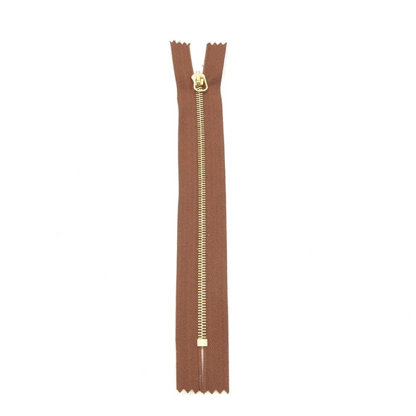 "RIRI Zipper M4 One Way - Brass  6"" or 7"" Closed End w / short tab Various Colors, 7 / Chestnut/Brass"