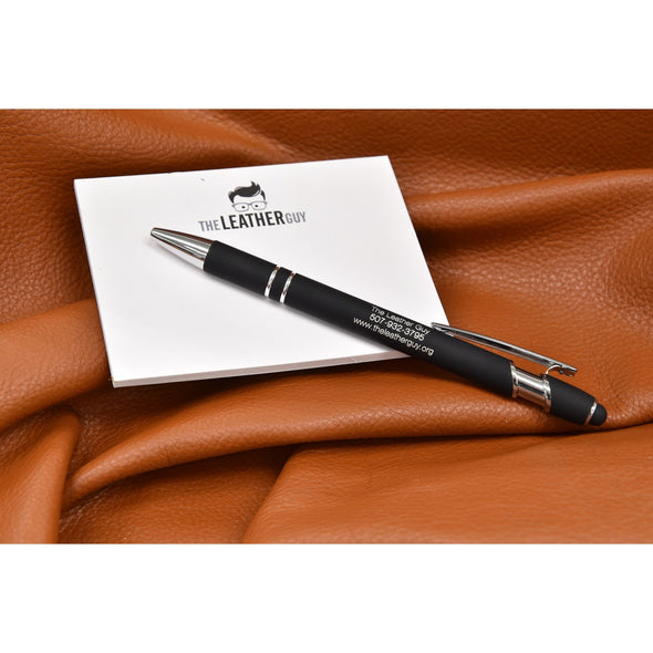 Leather Guy SWAG Exclusive -Black Ballpoint Pen with Soft Touch Pen,