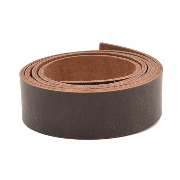 "Leather Pre-cut Belt Blanks 54"" long 9-10oz Minnesota Superior Cowhide, Up North Burgundy Brown / 1 1/2 / Rustic Waxed"