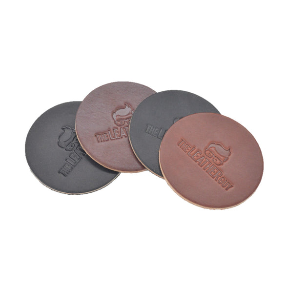 Leather Guy SWAG Exclusive -4 Pk Coaster Set - Leather Embossed Black/Dark Brown,