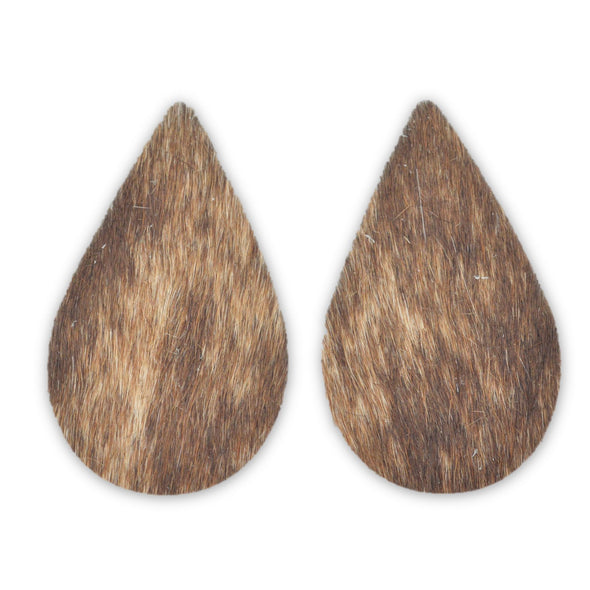 Leather Earrings Teardrop Large Die Cut 12pk Hair On Brindle Mix DIY,