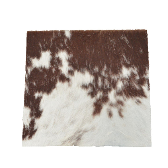 "Bi-Color Medium Brown Leather Hair on Cow Hide 12"" x 12"" Pre-cut,"
