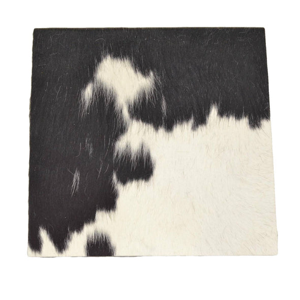"Bi-Color Black/Off White Leather Hair on Cow Hide 12"" x 12"" Pre-cut,"