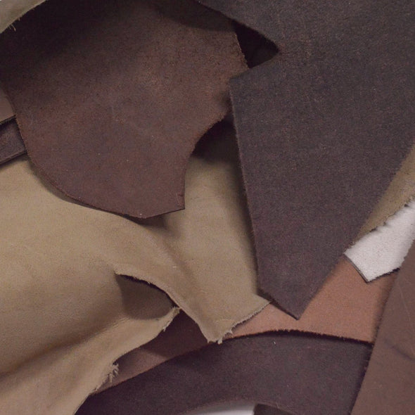Leather Scraps Oil tanned Boot 1 pound 3-5 oz Cow project Remnants,