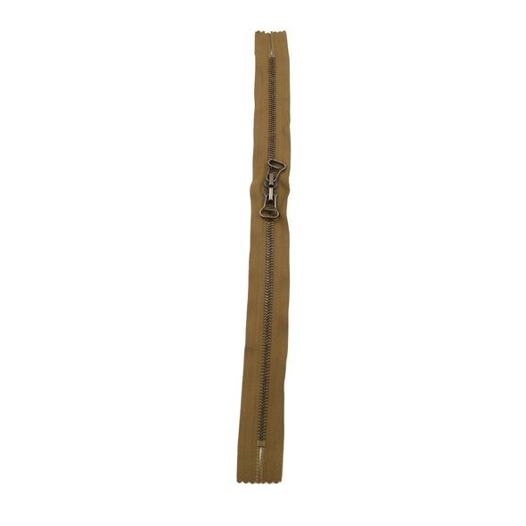 "RIRI Zipper M6 Two Way Double Pull - Brass 12"", 13"", 14"", or 16"" Closed Ends Various Colors, 14 / Lt.Brown/Ant.Brass"
