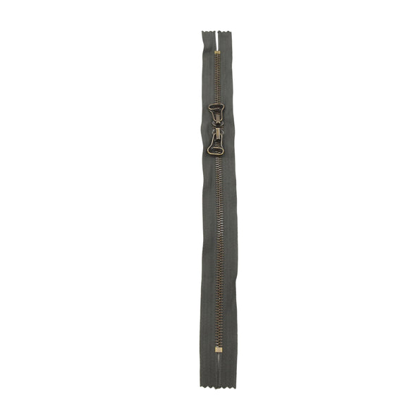 "RIRI Zipper M6 Two Way Double Pull - Brass 12"", 13"", 14"", or 16"" Closed Ends Various Colors, 12 / Grey/Ant.Brass"
