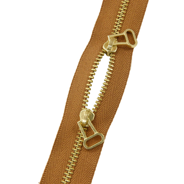 "Ideal Zipper M4 Tan Two Way Double Pull Brass 5"" 13 cm Closed End w/ short pull,"