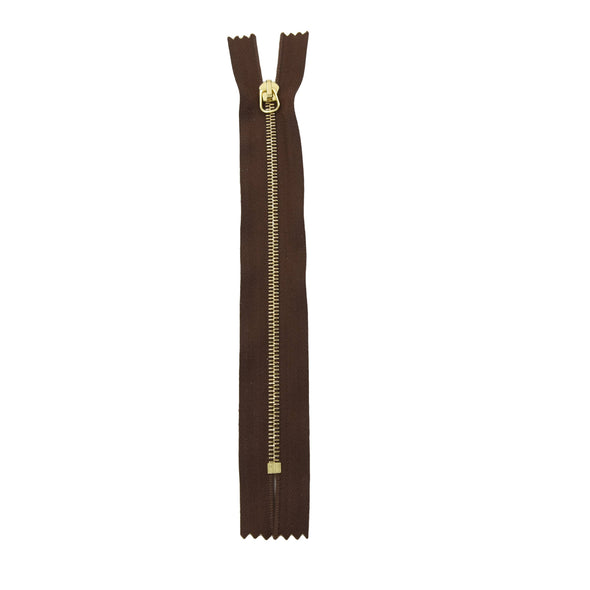 "RIRI Zipper M4 One Way - Brass  6"" or 7"" Closed End w / short tab Various Colors, 6 / Med Brown/Brass"