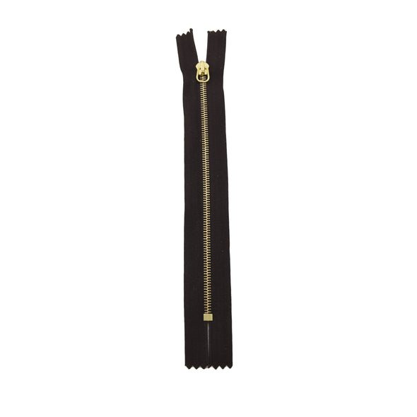 "RIRI Zipper M4 One Way - Brass  6"" or 7"" Closed End w / short tab Various Colors, 6 / Choc/Brass"