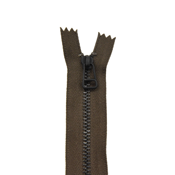 "Ideal Zipper M4 Brown One Way Black Brass 7"" 17 cm Closed End w/ short pull,"