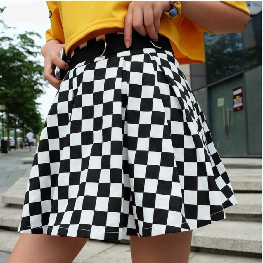 DICLOUD 2019 Pleated Checkerboard Skirts Womens Harajuku High Waisted Skirt Casual Dancing Korean Sweat Short Summer Mini Skirts - 349 - Street Wear / Style Streetwear / Hip-Hop / Japonais / Vintage / Rétro PremiumEditionskirts XS - FuturXwear