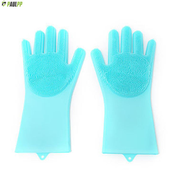 Magic Silicone Dishwashing Gloves With  Scrubbers
