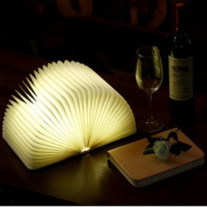 USB Wooden Folding Book Lamp LED Night Light Decorative Lights Desk