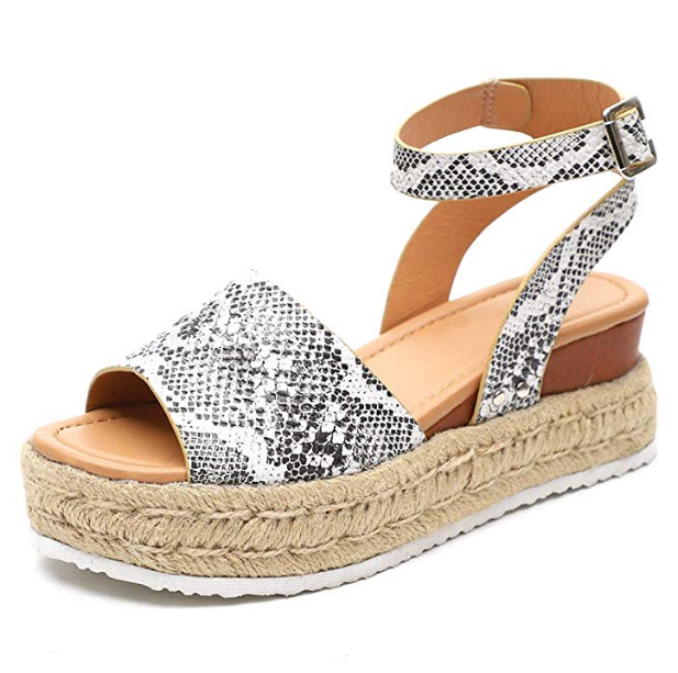 2019 leopard print hemp rope base casual sandals for women