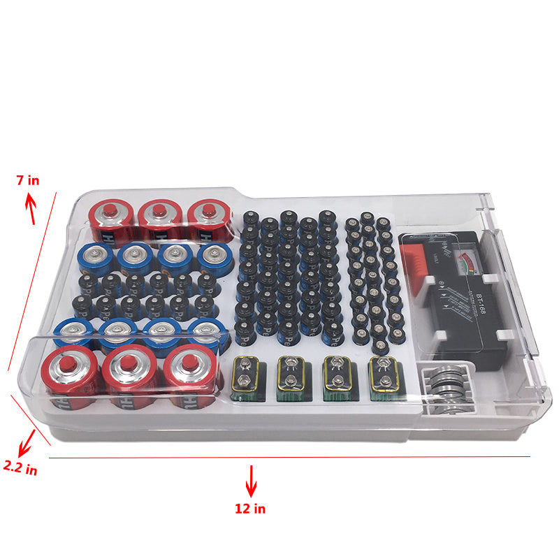 (Limited Time Offer Sale)Battery Organizer With Energy Tester
