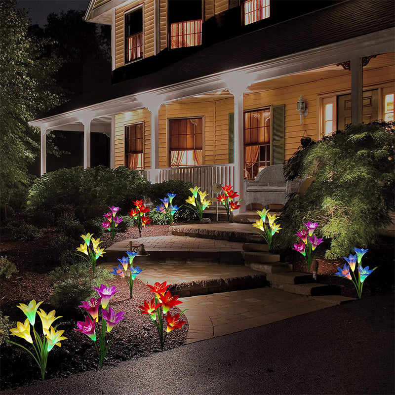 2019 New-Upgraded Artificial Lily Solar Garden Stake Lights(2 Packs of 8 Lilies)