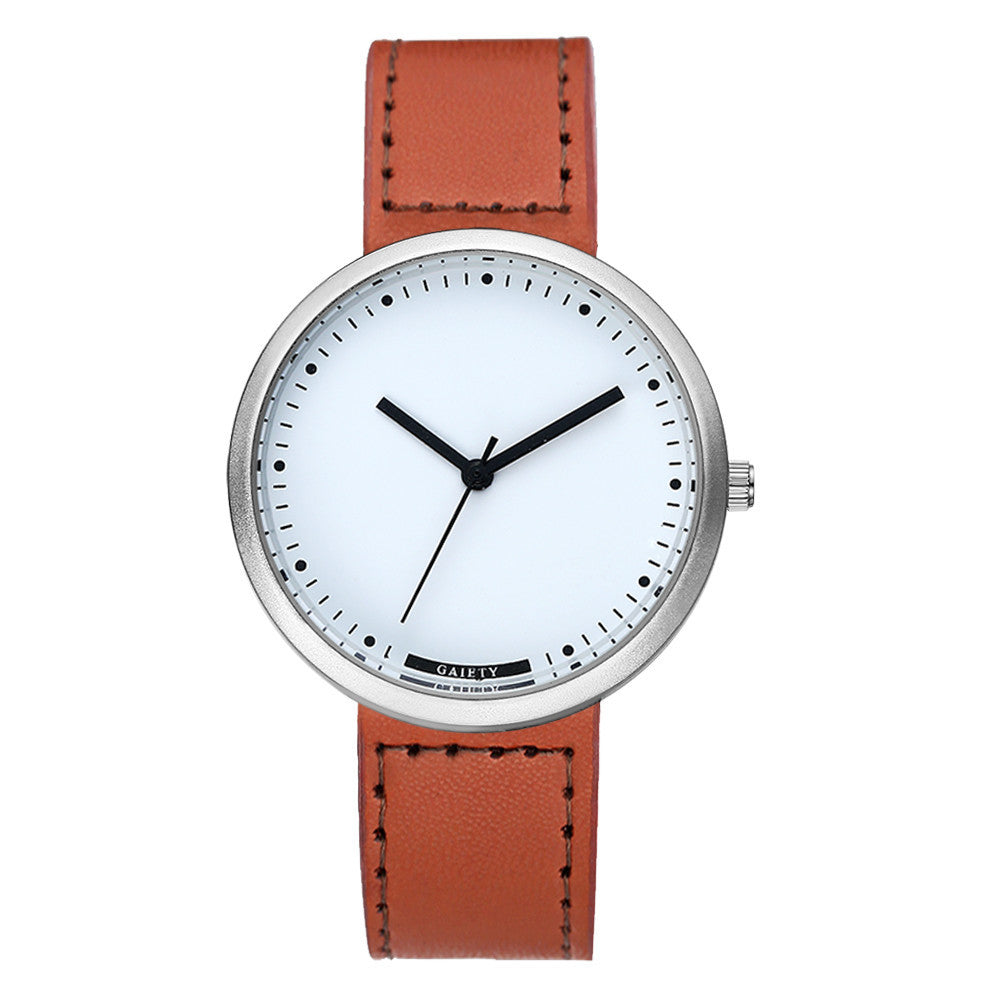 Men's Alloy & Leather Quartz Watch
