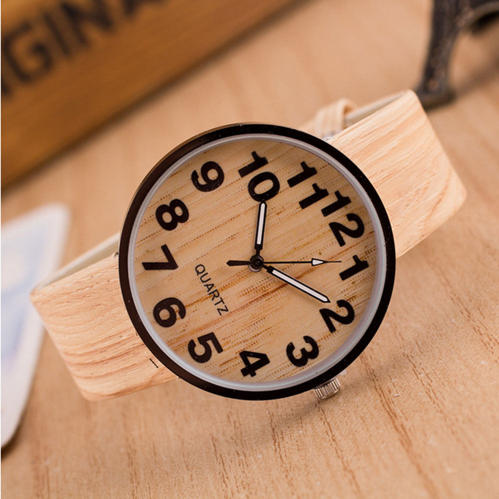 Men's Wood Grain Leather Quartz Watch