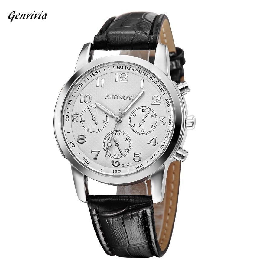 Men's Stainless Steel & Leather Quartz Watch