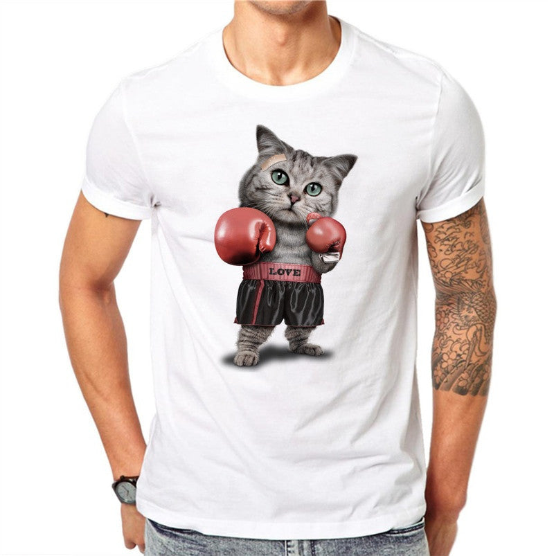 100% Cotton Boxing Cat Print Men's T Shirt