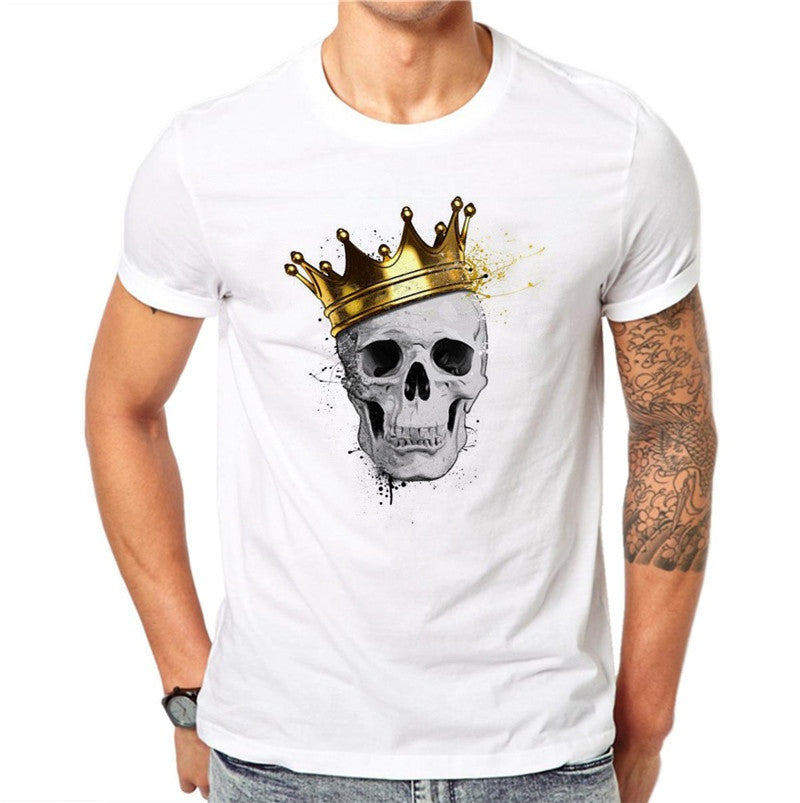 100% Cotton Skull King Print Men's T-shirt