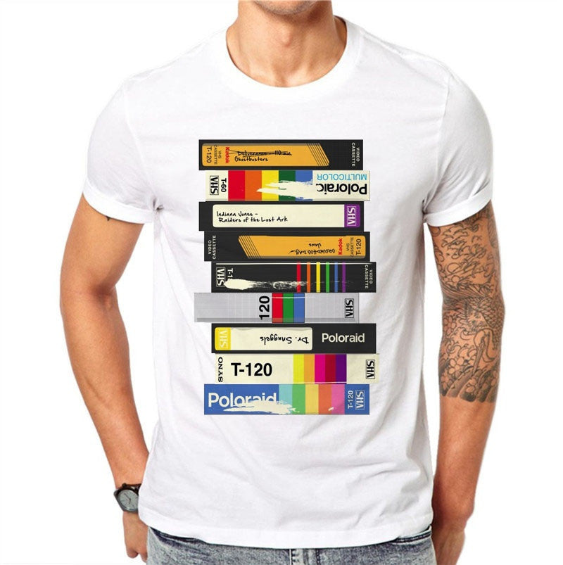 100% Cotton Cassette Print Men's T-Shirt