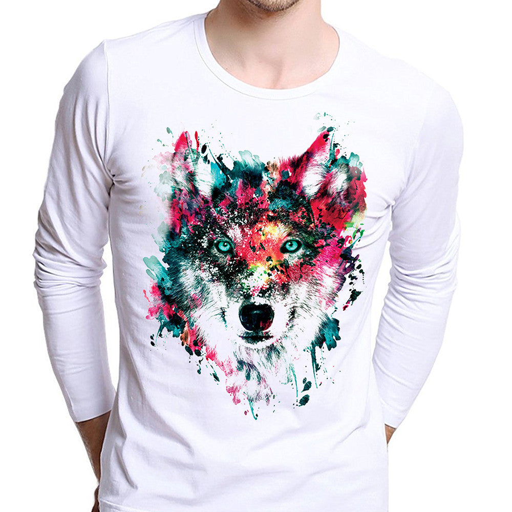 100% Cotton Wolf Print Men's T Shirt
