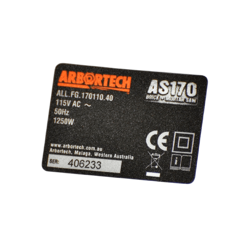 Arbortech Allsaw AS170 Electrical Specification Label with S/N (110 V)