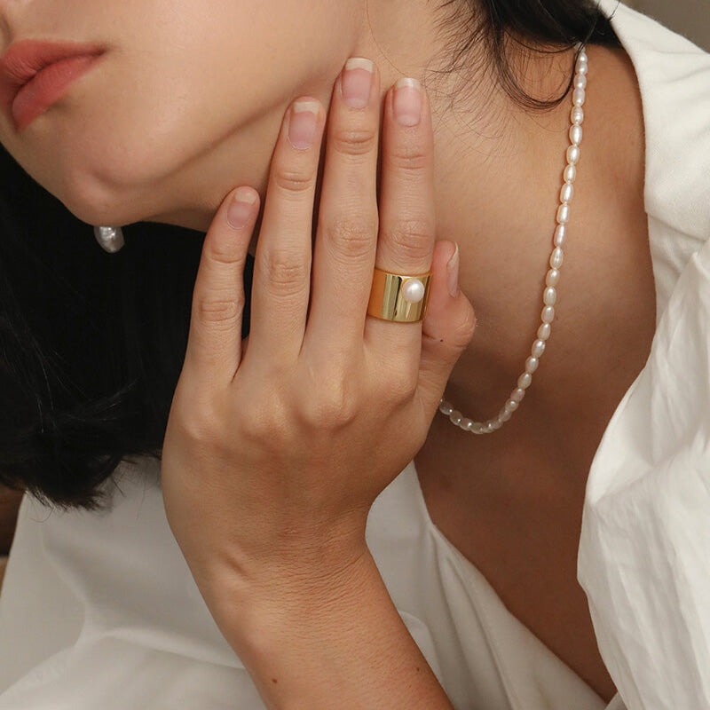 Retro Natural Pearl Wide Statement Ring Christmas Gifts