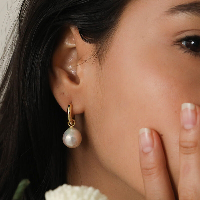 Dainty Baroque pearl Hoop Earrings