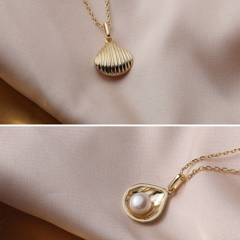 Natural Pearl Shell Pendant Necklace
