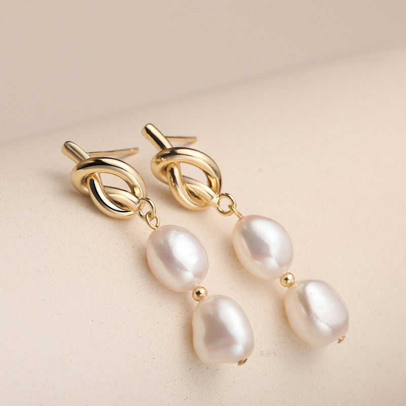 Gold Knot Baroque Pearl Long Dangle Earrings Jewelry Gift for her