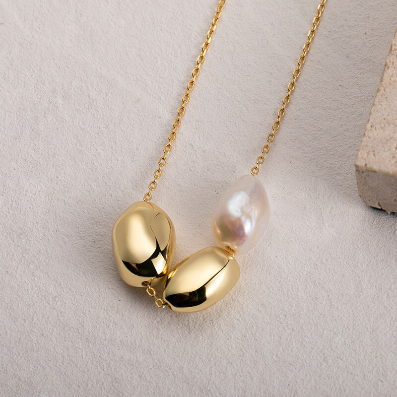 Gold Bead Natural Baroque Pearl Pendant Necklace