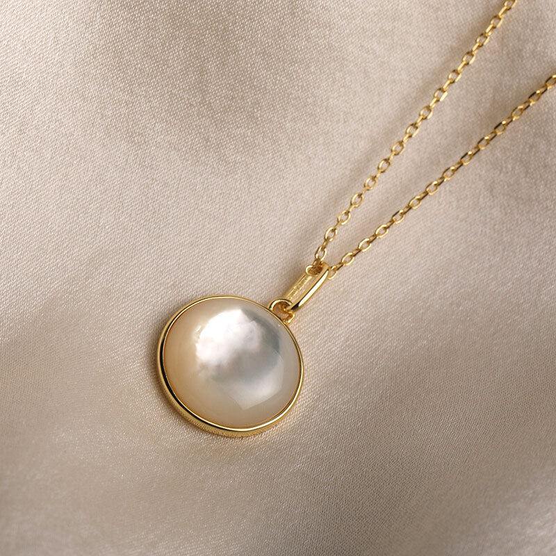 12mm Convex Round Mother of Pearl Pendant Necklace Christmas Gifts