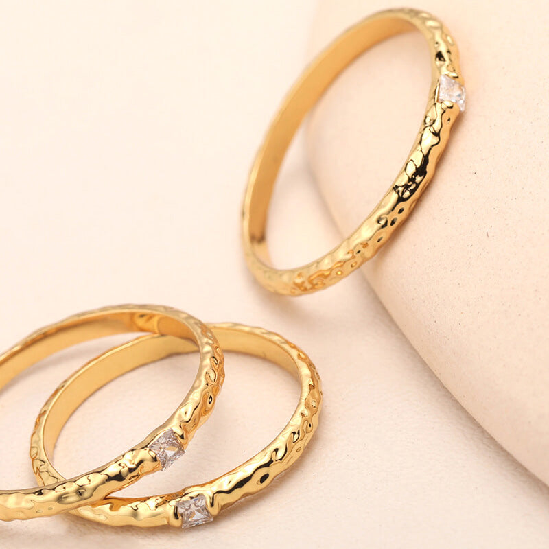 Vintage Lava Joint Finger rings set gold Christmas Gifts