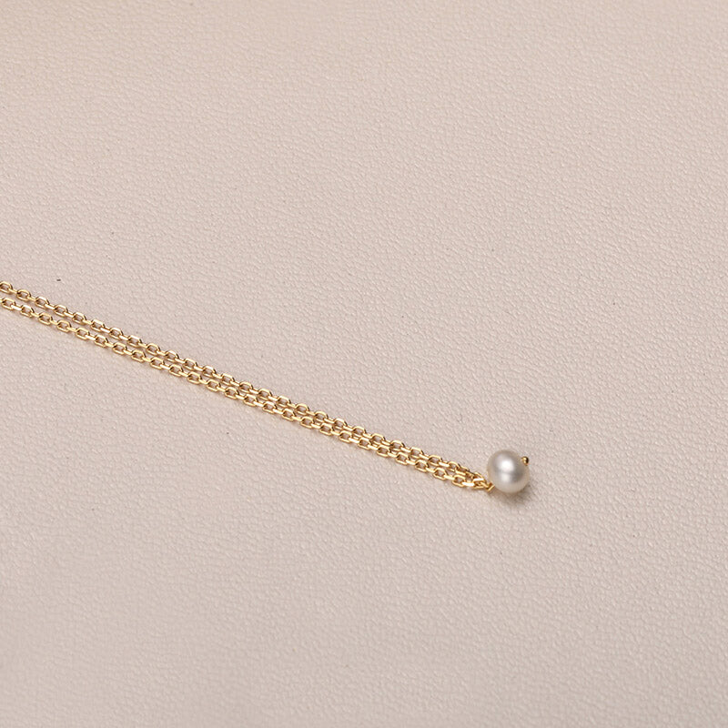 Gold Natural Mini Pearl Pendant Necklace