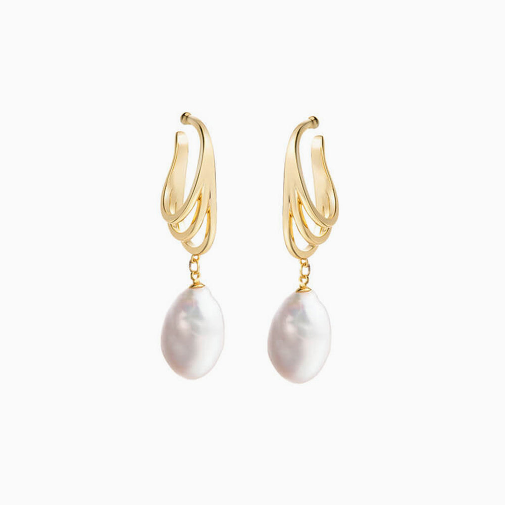 Gold Baroque Pearl Non Piercing Dangle Earrings