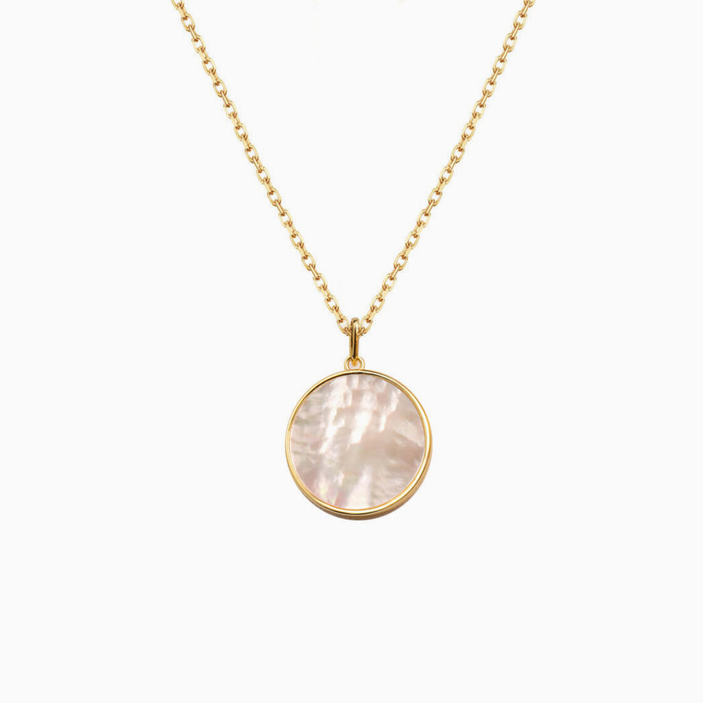 Gold 18mm Mother of Pearl Round Pendant Necklace