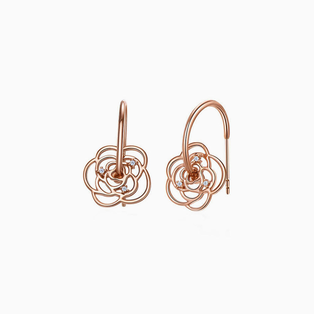 Camellia Half Hoop Earrings for women